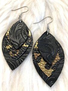 Leopard / Black Embossed Faux Leather Earrings Triple Layer