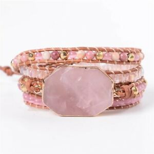 Handmade Natural Stone Rose Quartz & Rhodochrosite Beaded Wrap Bracelet Cuff