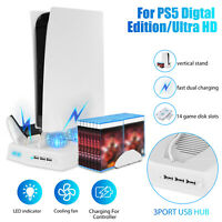 For PS5 PlayStation5 Vertical Stand w/2 LED Controller Charging Dock Cooling fan