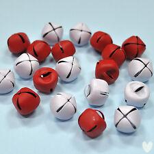 20 assortiti 12 mm Rosso Bianco Metallo Campane-Natale xmas decorazione dress It Up