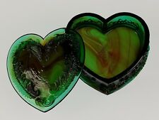 JUNGLE GREEN Covered HEART BOX Boyd's Crystal Art Glass Degenhart 1978-1983 NOS