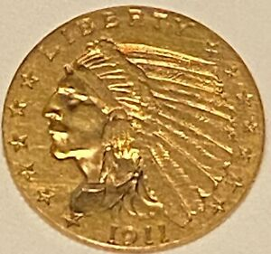 1911 US - $2 1/2 Dollar Gold Indian Head Free Shipping No Reserve