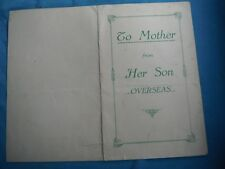 WWII home front greeting card to mother from son, England, 1945