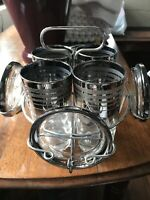 Vintage Bar Ware Set In Caddy Silver Glint