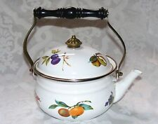 ENAMEL KETTLE, White & Fruit Design Tea Kettle Pot Cover Brass Wood Handle