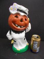 Vintage Rare Halloween Mrs Pumpkin Head Jack O Lantern Ceramic Figure Yozie 1973