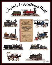 "Model Railroading 16"" X 20"" Poster of Vintage Steam Locomotives & 1876 RR Pass"