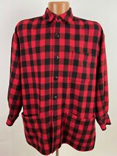 Vintage Buffalo Plaid Chore Coat Men's Small Red Wool Blend 3-Pocket USA Made