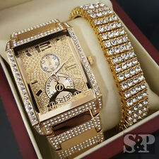 Men Hip Hop Iced Out Bling Gold Tone Simulated Diamond WATCH & BRACELET Gift Set