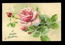 Greetings BIRTHDAY Flowers Rose Tuck #6096 Embossed PPC C Klein drawn