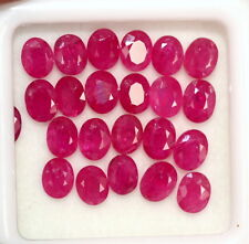 Natural Ruby Oval Cut 4.50x3.50 mm Lot 24 Pcs 6.86 Cts Red Pink Loose Gemstones
