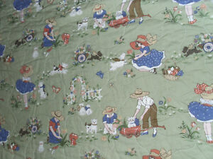 """Child's Quilt Children at Play Napa Valley Quilt Company Vintage Print 38"""" x 47"""""""
