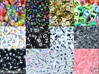 100 pcs acrylic number and alphabet letter beads, cube, 6, 7, 8 mm and colours