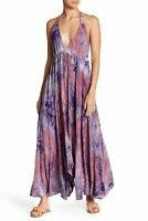 NWT LOVE STITCH Tie Dyed Halter Maxi Dress Berry Combo Size M Medium 8 10