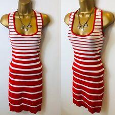Vestido ceñido al cuerpo de MANGO talla XL rojo y blanco con rayas elástico de punto fino