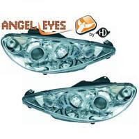 LHD Faros Proyectores Par Angel Eyes Claro Cromo H1 H1 para Peugeot 206CC