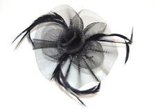 NEW Black looped net and centre swirl fascinator clip and brooch pin wedding