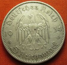 GERMAN 1934 - A 5 RM REICHSMARK 3RD REICH SILVER NAZI GERMANY COIN (WC2133)