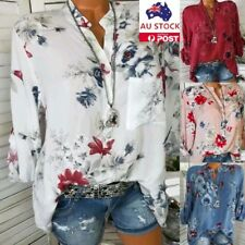 Women Floral Printed V Neck Long Sleeve Button T-shirt Casual Blouse Size 8-22