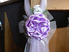 SET OF 6 Lavender Pew Bows, Chair Bows,  Arch,  Aisle, Table, Wedding dec White