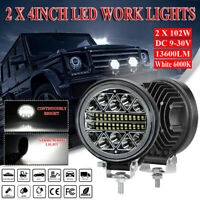 New 2Pcs 4 inch Round Led Work Lights 13600LM LED Spot Flood Beam Driving Lights