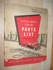 1951 Plymouth Chrysler Dodge Engine Parts Book Original Mopar List Catalog Truck