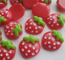 50pcs Mini Strawberry Resin Flatback Button DIY Scrapbooking Accessories JCN038