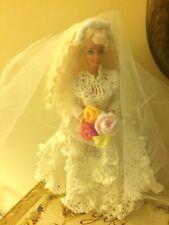 Vintage Barbie Doll handmade crochet Wedding Gown Bride White