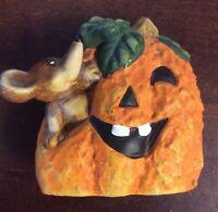 "Mouse In Jack O Lantern Pumpkin Ceramic Halloween 4"" Figurine"