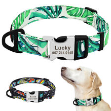 Custom Nylon Dog Collar with Personalized Dog Name Plate Tag ID Small Large