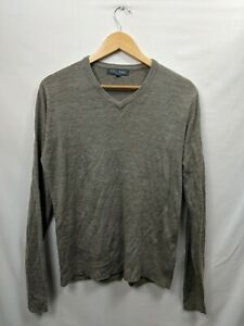 Marks And Spencer Light Brown V Neck Soft Touch Mens Jumper Size Medium #WD9