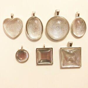Fassungen und Glas Cabochon Metallanhänger Medaillons Schmuck Anhänger  1 x Satz