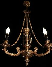 Victorian Gas Chandelier w/ royal guard sculpture stamped C1870 restored & wired