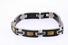 Shaquille O'Neal 11mm Stainless Tri-Tone Carbon Fiber Yellow IP Cable Bracelet