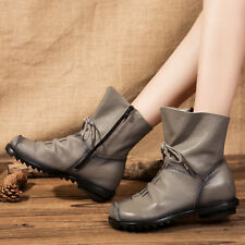 Womens Genuine Cowhide Leather Lace Up Zip Up Flat Ankle Gray Boots-Size 6-10
