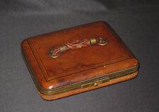 ancienne sacoche à poignée en nœud de cuir et velours bleu XIX ème