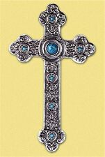 Silver & Turquoise Colors ** SPANISH STYLE WALL CROSS * NIB
