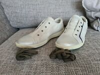 ECCO ladies trainer shoe. silver toe, white/silver body. leather UK 6.5/40