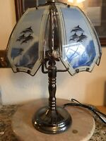 """Vtg Touch Lamp 6 glass panels w/ Jumping Dolphins 23"""" tall NICE"""