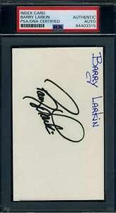 Barry Larkin PSA DNA Coa Signed 3x5 Index Card Autograph