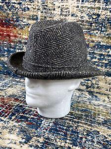 Dobbs Fifth Avenue Herringbone Tweed Wool Size 7 1/4 Trilby Buckle Hat