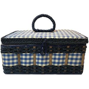 Vintage Sewing Basket Blue White Gingham Check 1960's Woven Hinged JC Penney