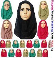 Plain Shimmer Pattern Maxi Big Large Scarf Wrap Shawl Hijab Sarong NEW 'GltrScrf