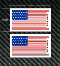 2 x MADE IN USA BAR CODE Stars & Stripes Stickers/Decals with White Background