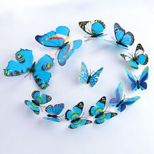 12PCS New Blue 3D DIY Butterfly Wall Sticker Butterfly Home Decor Room Stickers