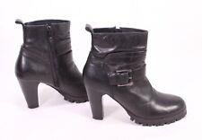 2D Buffalo Damen Stiefeletten Biker Boots Leder schwarz Gr. 37 Plateau Stiefel