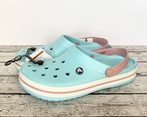 CROCS Crocband Ice Blue & Pink Clogs Women's US 11/Men's US 9 Sandals. BNWT