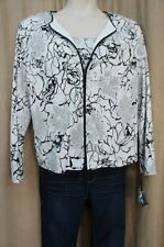 ONYX Nite Dress Jacket Sz XL White Black Silver Glitter Floral Full Zip Evening