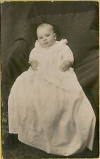 VTG 1910 Infant 4 Month Old Baby in Long White Dress RPPC Photo Postcard A10