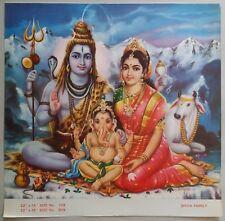 INDIA VINTAGE MYTHOLOGICAL HINDU GODS OLD BIG PRINT-SHIVA FAMILY  #B-48